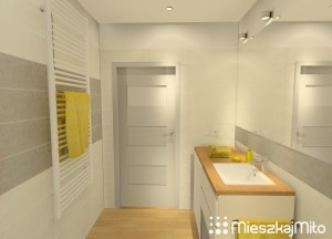 żółte dodatki w łazience