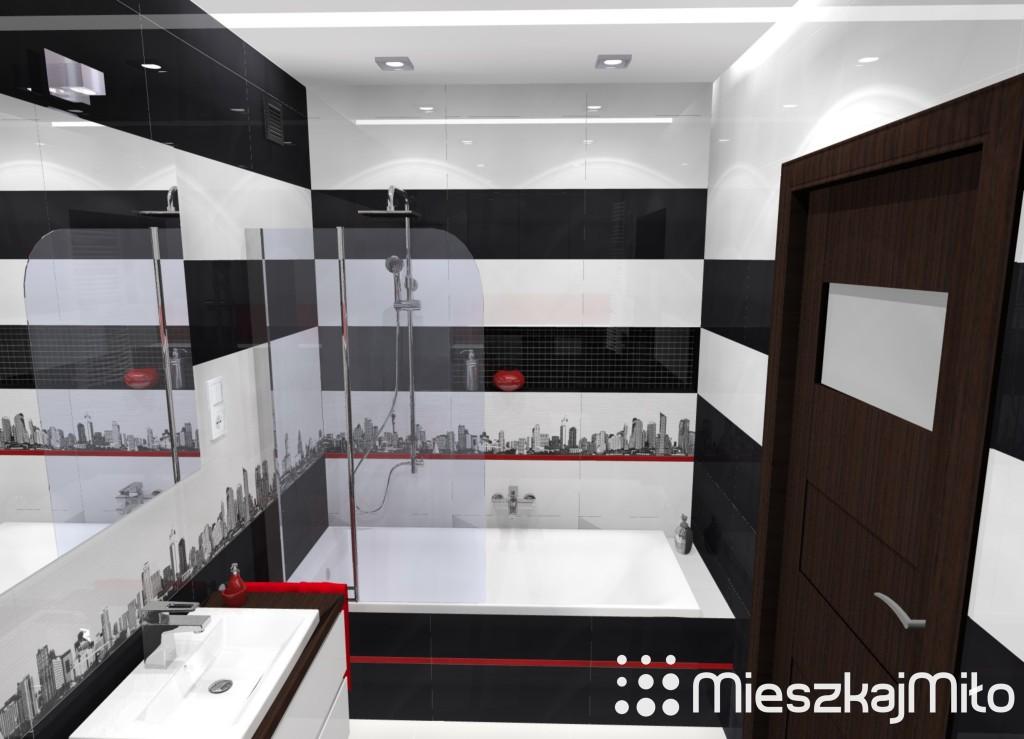 łazienka biało czarna