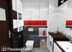 łazienka biało czarno czerwona