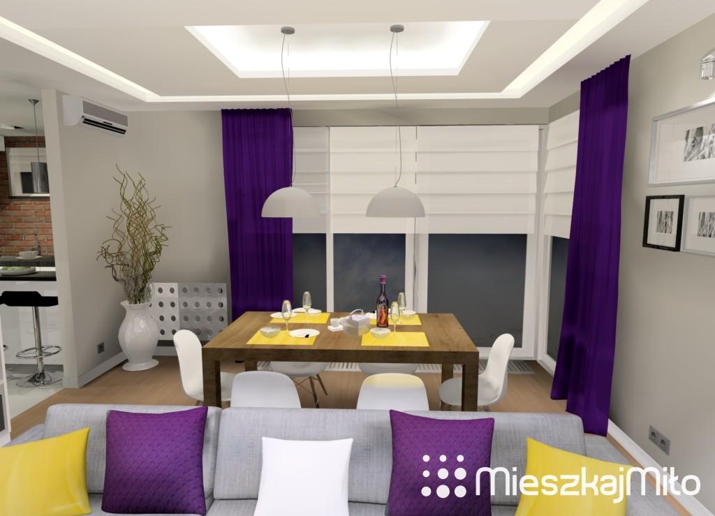 fioletowe dodatki w salonie
