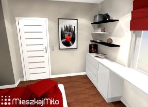 czerwone dodatki w sypialni