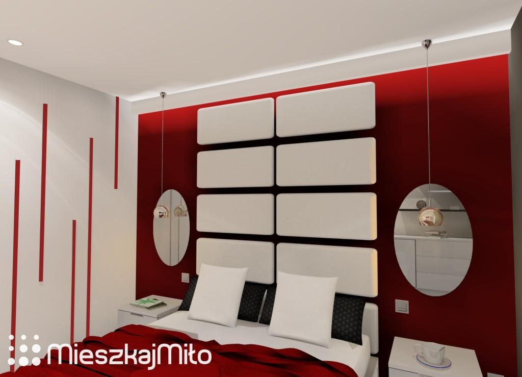 czerwono biała sypialnia
