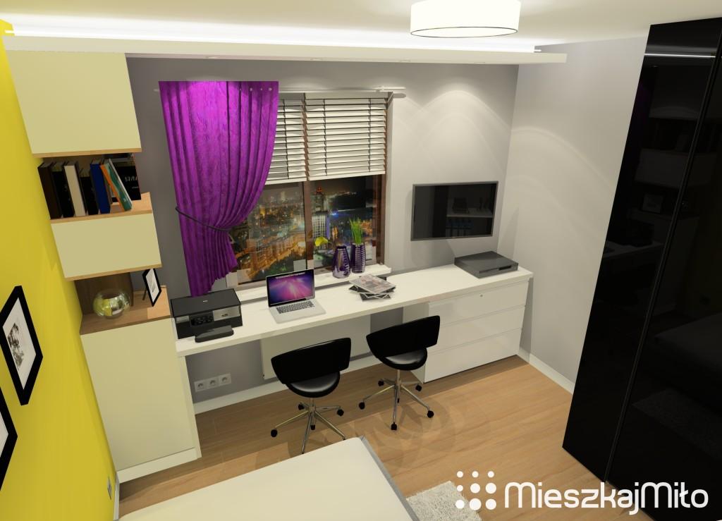 małe biuro w sypialni
