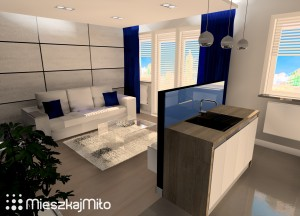 niebieski dodatki w mieszkaniu
