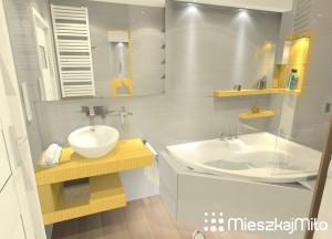 żółta mozaika w łazience