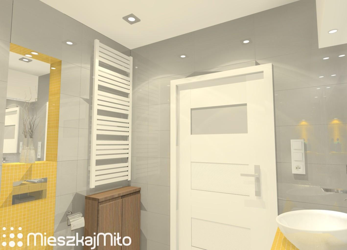 Aranżacja łazienki Szaro żółtej Mieszkaj Miło