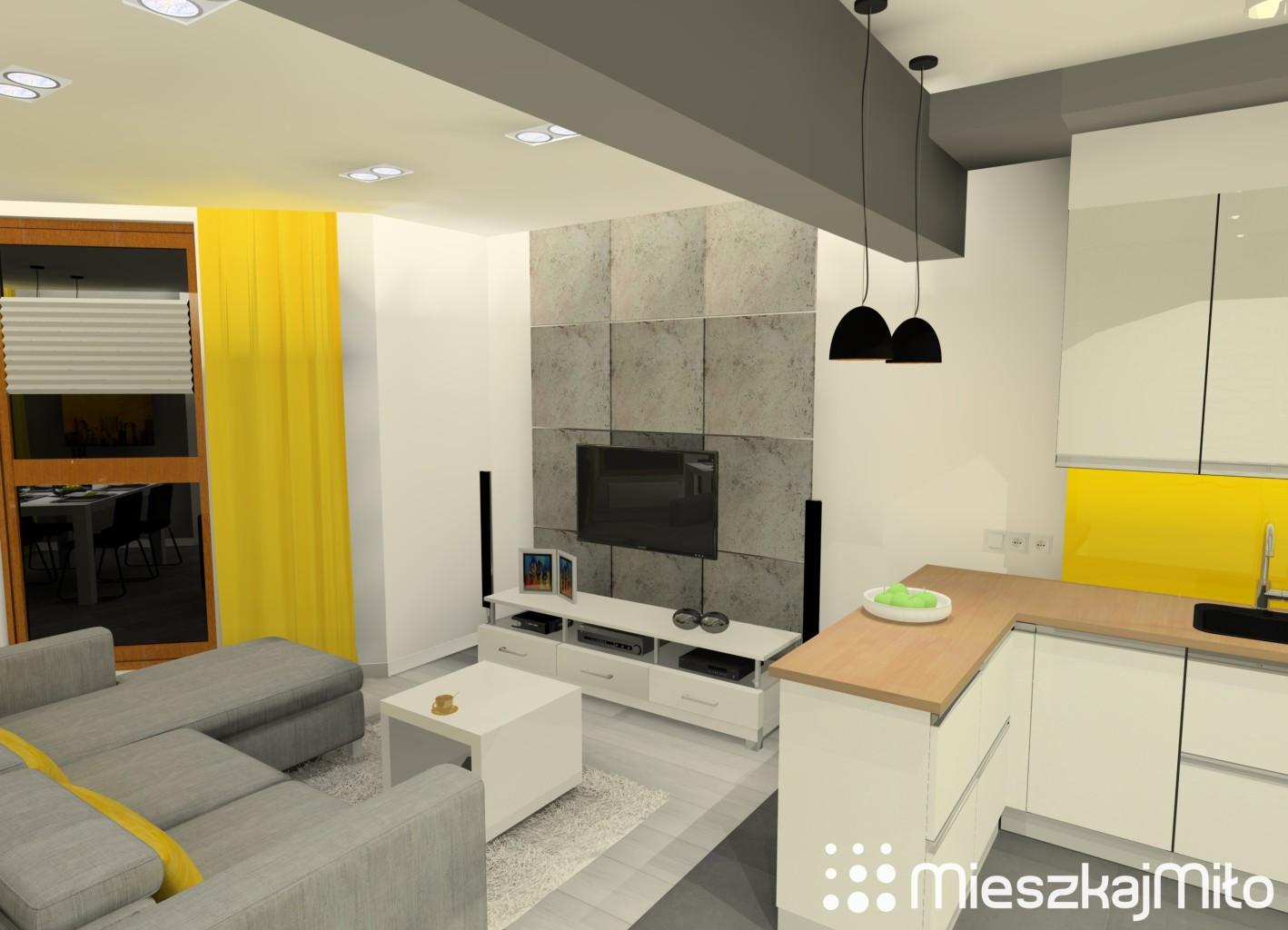 Aran acja salonu z aneksem kuchennym mieszkaj mi o for Beton salon