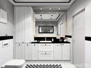 Biało - czarna łazienka