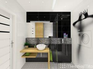 panel z grafiką w łazience