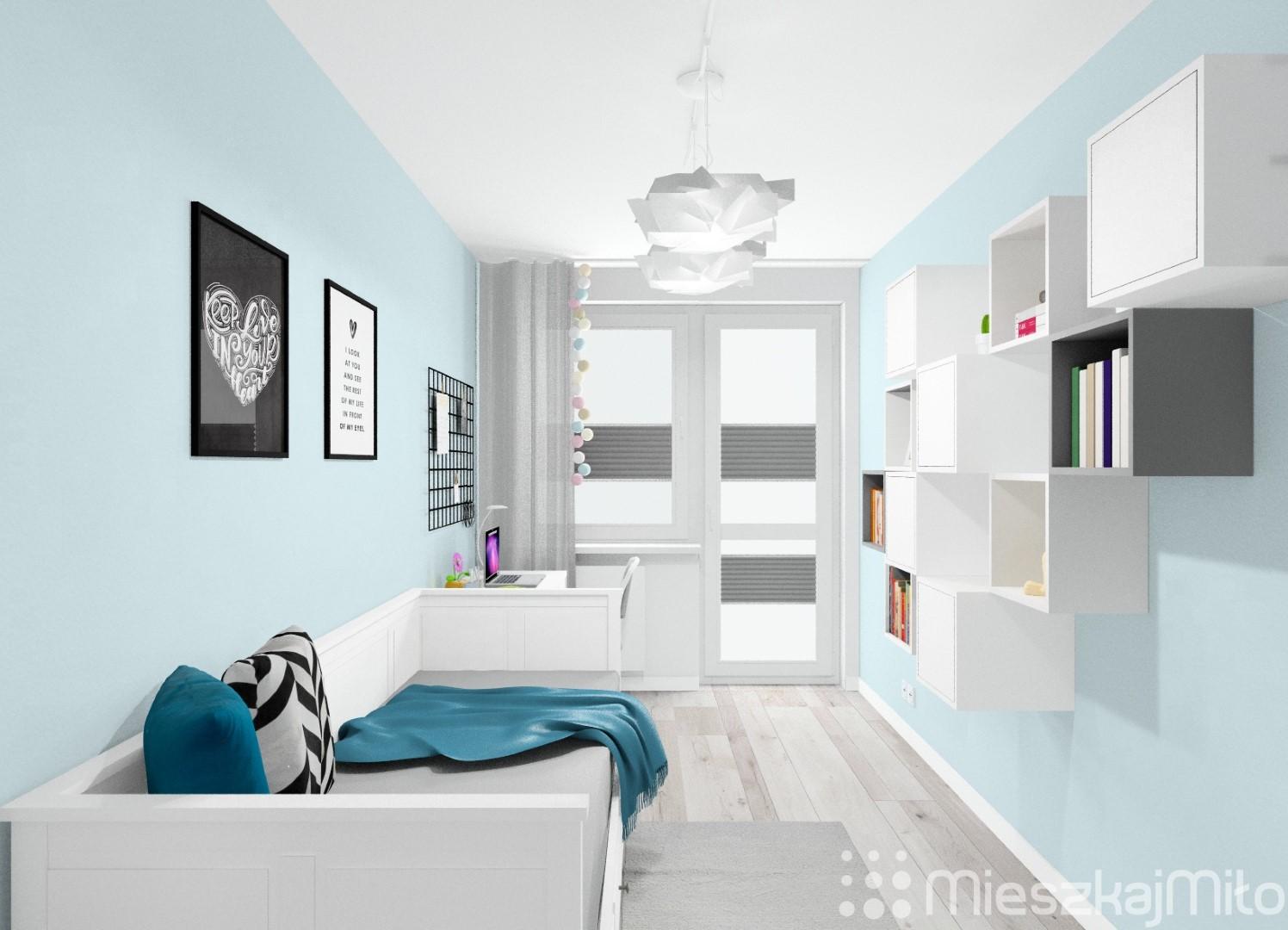 niebieski kolor ścian