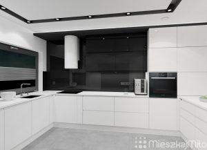 biało czarne meble kuchenne