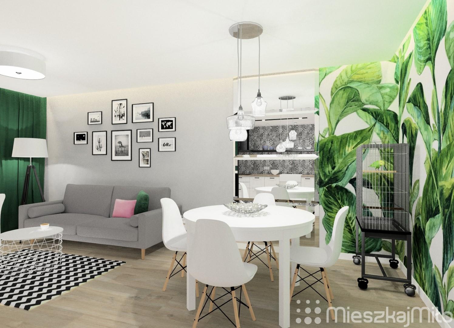Projekt Salonu Z Aneksem Kuchennym 26 7 M Sosnowiec Mieszkaj