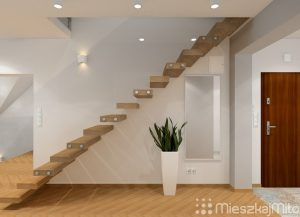 wąski przedpokój ze schodami