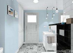 niebieskie ściany w łazience