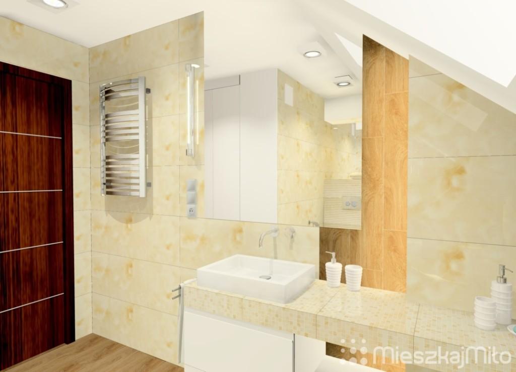 łazienka ze skośnym sufitem
