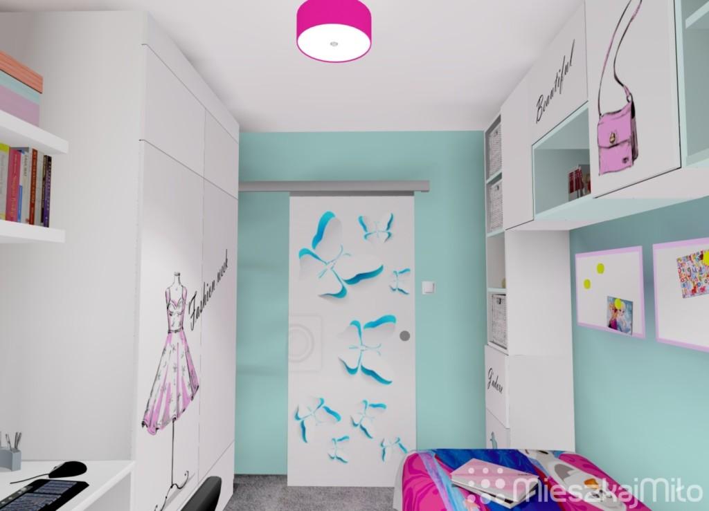 Oklejane drzwi w pokoju