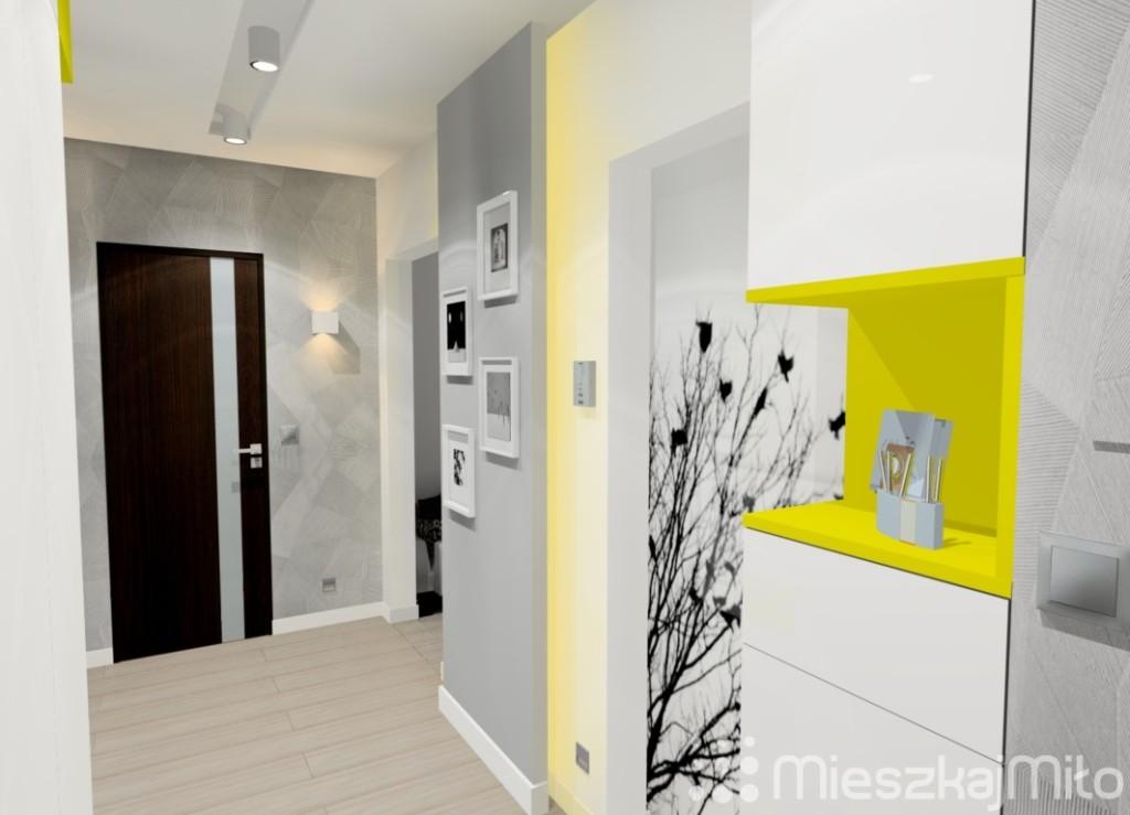 biało żółta zabudowa meblowa