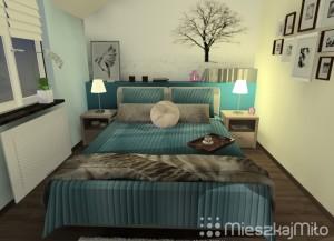 fototapeta za łóżkiem w sypialni