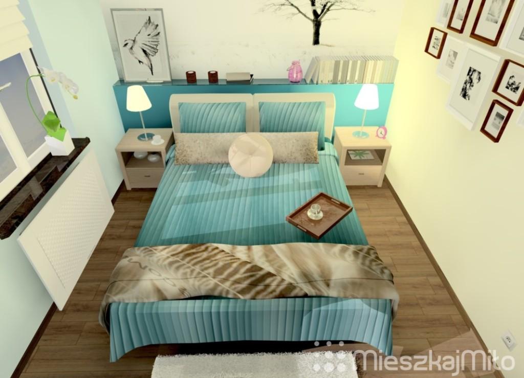 niebieski kolor w sypialni