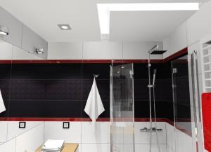 czerwone dodatki w łazience