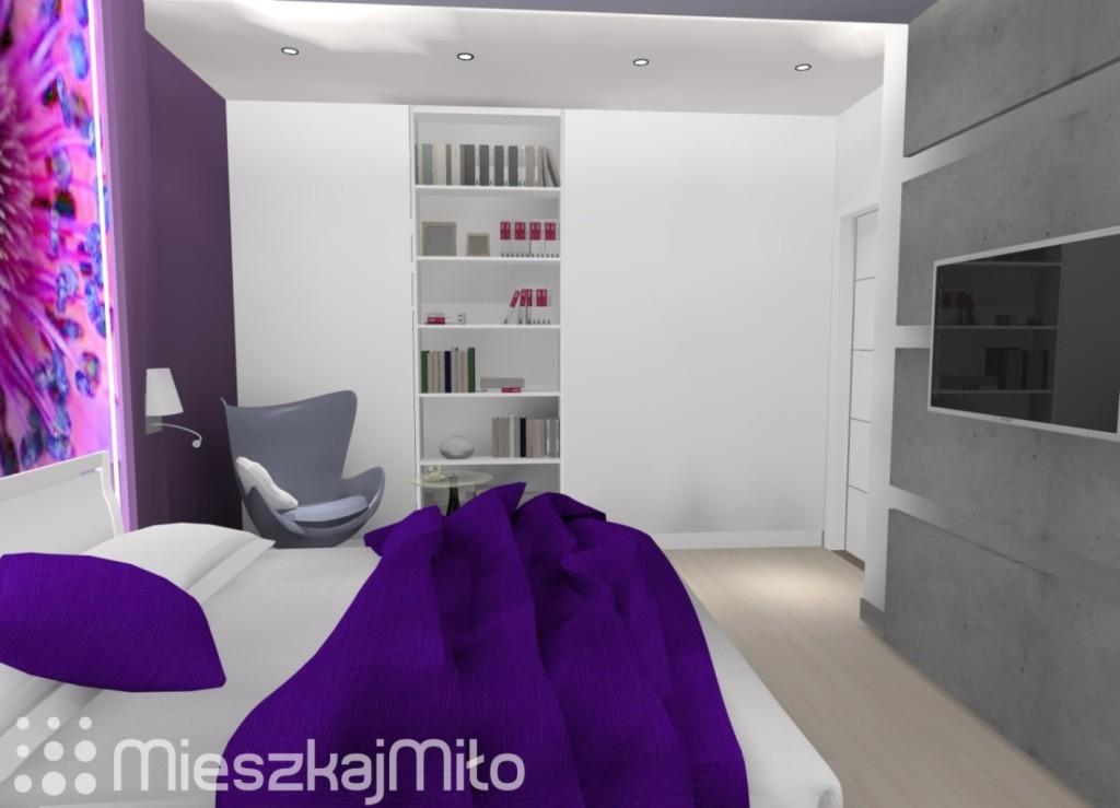 fioletowy kolor w sypialni
