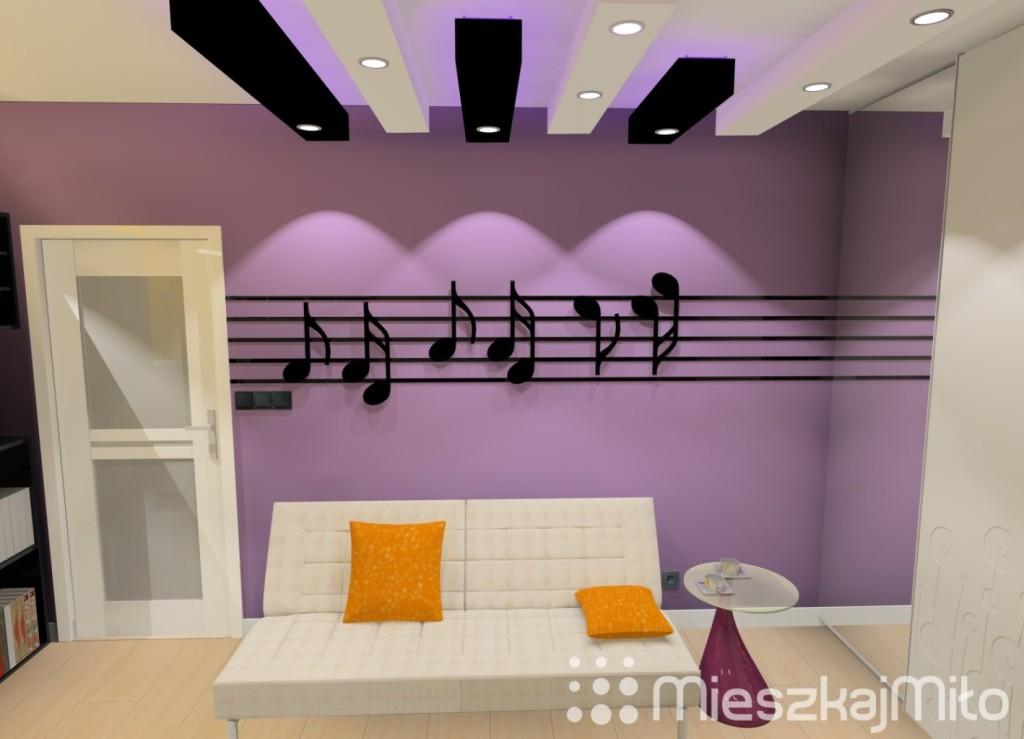 kolor fioletowy i pomarańczowy w pokoju