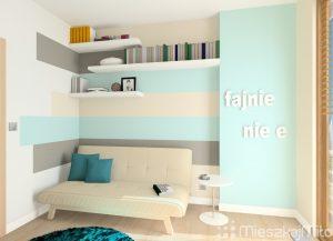 niebieska ściana w pokoju