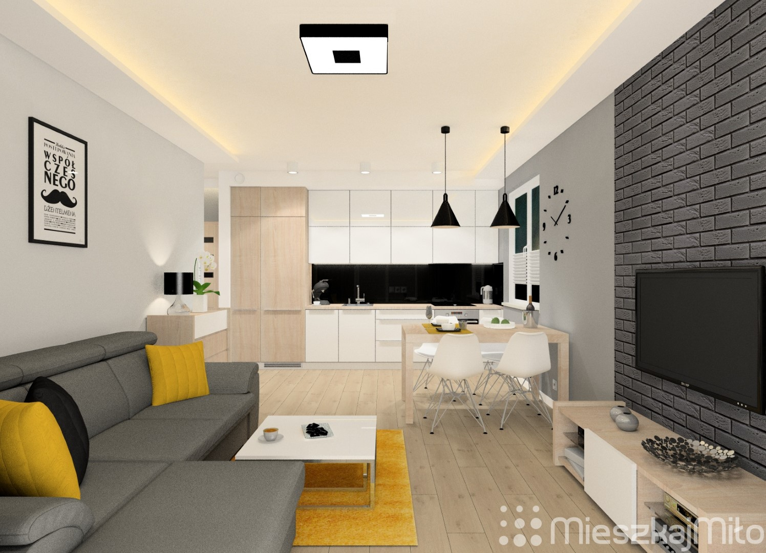 Projekt Wnętrza Mieszkania 46m² Czeladź Mieszkaj Miło