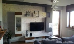 biała cegła na ścianie z TV