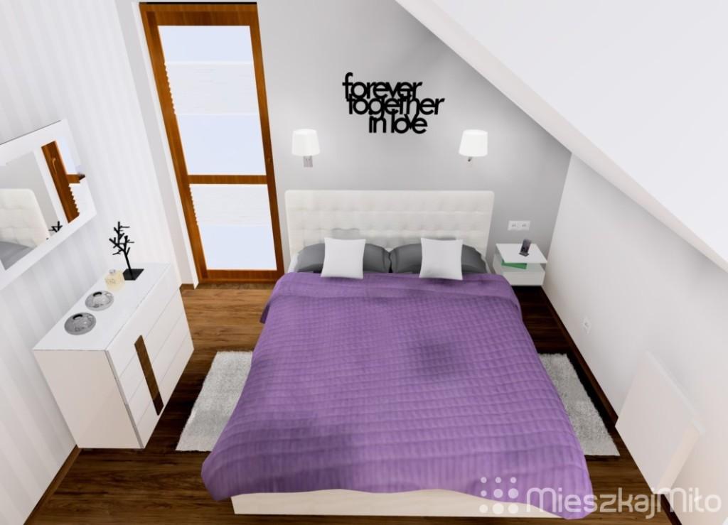 fiolet w sypialni